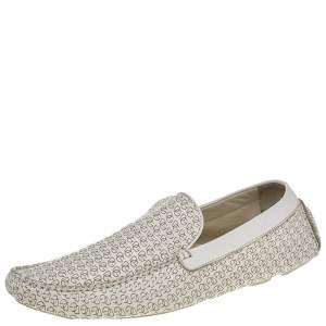 Dolce & Gabbana White Logo Embossed Leather Slip On Loafers Size 45