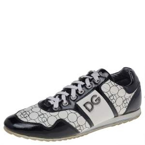 Dolce & Gabbana Black/White Patent And Leather Low Top Sneakers Size 43