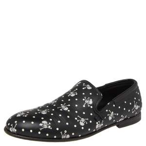 Dolce & Gabbana Black Leather Skull  And Cross Bone Print  Loafers  Size 41