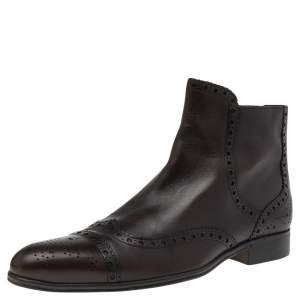 Dolce & Gabbana Dark Brown Brogue Leather Ankle Boots Size 41