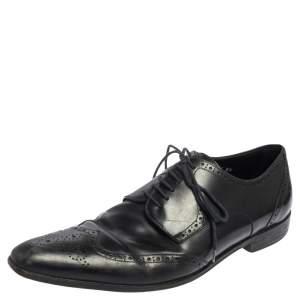 Dolce & Gabbana Black Brogue Leather  Lace Oxfords Size 42.5