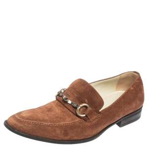 Dolce & Gabbana Brown Suede Bit Slip On Loafers Size 40.5