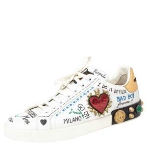Dolce & Gabbana White Leather Graffiti Print Portofino Low Top Sneakers Size 45