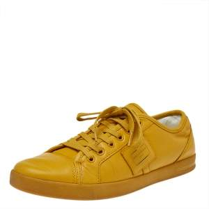 Dolce & Gabbana Yellow Leather Cap Toe Low Top Sneakers Size 40.5