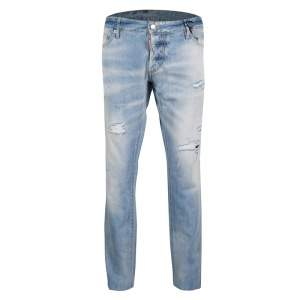 DSquared2 Indigo Light Wash Faded Effect Distressed Denim Slim Jeans 3XL