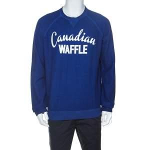 Dsquared2  Blue Cotton Knit Canadian Waffle Sweatshirt L