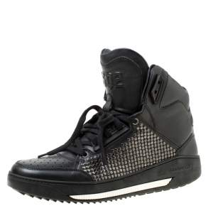 Dsquared2 Black Studded Leather High Top Sneakers Size 41