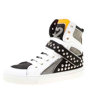 Dsquared2 Tricolor Suede And Leather Studded High Top Sneakers Size 41.5