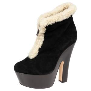 Dsquared2 Black/White Suede And Shearling Zip Platform Ankle Boots Size 38.5