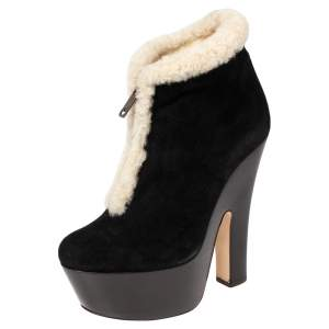 Dsquared2 Black/White Suede And Shearling Zip Platform Ankle Boots Size 39