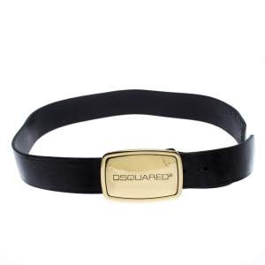 Dsquared2 Black Leather Logo Plaque Buckle Belt Medium