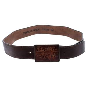 Dsquared2 Dark Brown Leather Buckle Belt 108CM