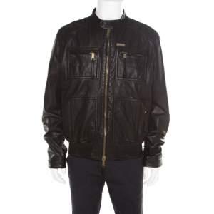 Dsquared2 Black Goat Leather Zip Front Biker Jacket 3XL