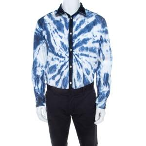Dsquared2 Indigo Cotton Tie Dye Effect Denim Trim Relaxed Dan Shirt L