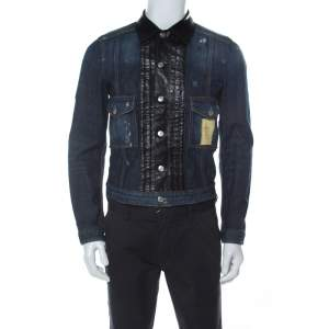 Dsquared2 Blue Denim Distressed Detail Leather Trim Jacket M