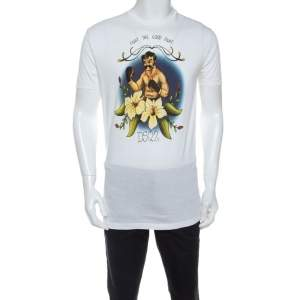 Dsquared2 White Printed Cotton Crew Neck T Shirt M