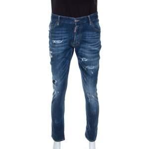 Dsquared2 Blue Distressed Denim Classic Kenny Twist Jeans L