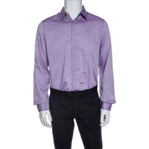 Dsquared2 Purple Chambray Cotton Button Front Shirt XL