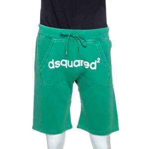 Dsquared2 Green Logo Print Cotton Jersey New Dean Fit Shorts M