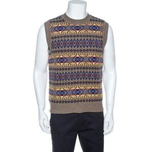 Dsquared2 Taupe Jacquard Wool Sleeveless Sweater L