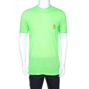 Dsquared2 Neon Green Logo Print Cotton T-Shirt M