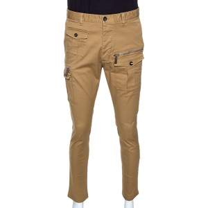 Dsquared2 Tan Brown Stretch Cotton Gabardine Skinny Cargo Trousers M