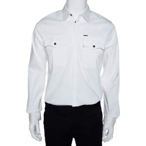 Dsquared2 White Stretch Cotton Pocket Detail Long Sleeve Shirt L