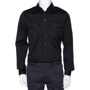Dsquared2 Black Stretch Cotton Pocket Detail Long Sleeve Shirt L