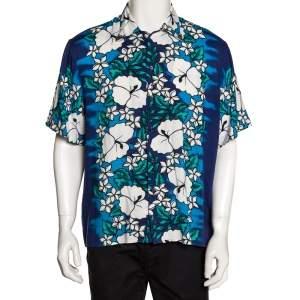 Dsquared2 Blue Poplin Hawaiian Print Metal Collar Detail Shirt L