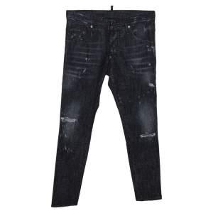Dsquared2 Charcoal Grey Embellished Distressed Denim Skater Jeans S