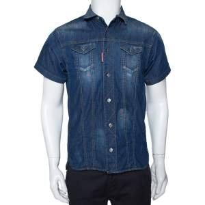 Dsquared2 Blue Denim Distressed Patch Detail Short Sleeve Shirt XS