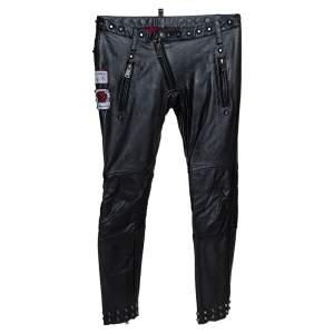 Dsquared2 Black Calf Leather Patch Detail Biker Pants L