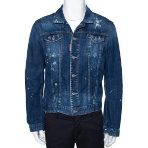 Dsquared2 Blue Distressed Light Wash Denim Fitted Jacket L