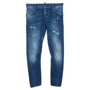 Dsquared2 Blue Distressed Light Wash Denim Sexy Twist Jeans XS