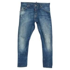 Dsquared2 Blue Distressed Denim Light Wash Tapered Jeans S
