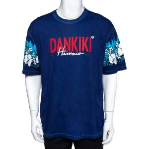 Dsquared2 Blue Dankiki Print Hetero Guy Fit T-Shirt XXL