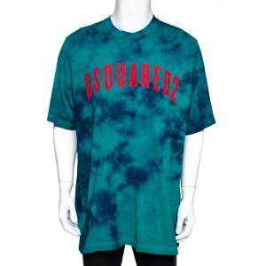 Dsquared2 Green Tie-Dye Cotton Slouch Fit T-Shirt XL