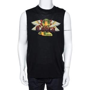 Dsquared2 Black Cotton Cobra Print Long Cool Fit Tank T-Shirt XL