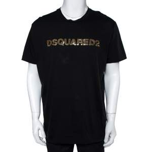 Dsquared2 Black Cotton Logo Sequinned Long Cool Fit T-Shirt XXL