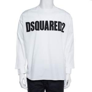 Dsquared2 White Logo Print Cotton Long Sleeve Shirt XL