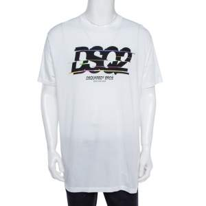 Dsquared2 White Cotton Logo Print T-Shirt XXL