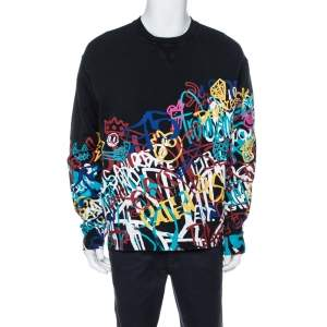 Dsquared2 Black Graffiti Print Cotton Cool Fit Sweatshirt XL