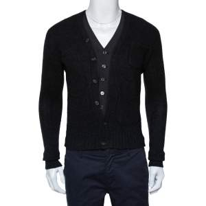 Dsquared2 Dark Grey Wool & Cashmere Waist Coat Inset Detail Cardigan S