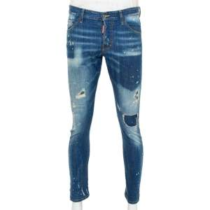 Dsquared2 Blue Denim Painted Distressed Sexy Twist Jeans M