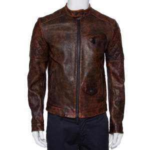Dsquared2 Brown Leather Quilted Detail Zip Front Jacket M