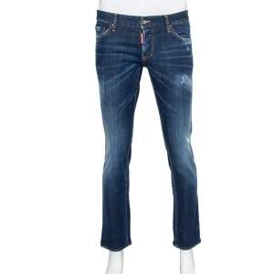Dsquared2 Navy Blue Medium Wash Denim Distressed Jeans L