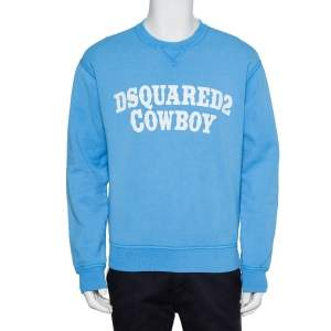 Dsquared2 Blue Cotton Knit Logo Cowboy Printed Crewneck Sweatshirt L