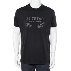 Dsquared2 Black Cotton 24-7Star Embossed Crewneck T-Shirt XXL