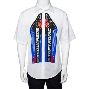 قميص ديسكويرد2 كبير كم قصير قطن طباعة شعار أبيض مقاس صغير