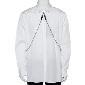 Dsquared2 White Cotton Chain Detail Button Front Shirt XL